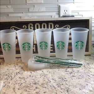 10 Starbucks Frosted Plain Reusable Tumblers